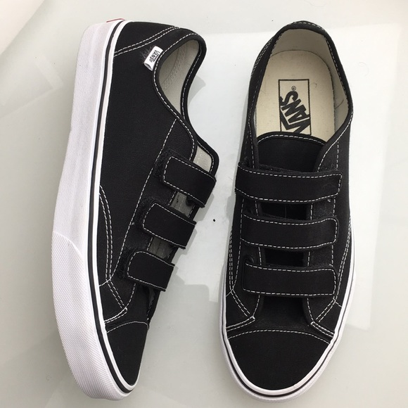 68e10b5c Vans 3 Strap Black White Sneakers Mens 10